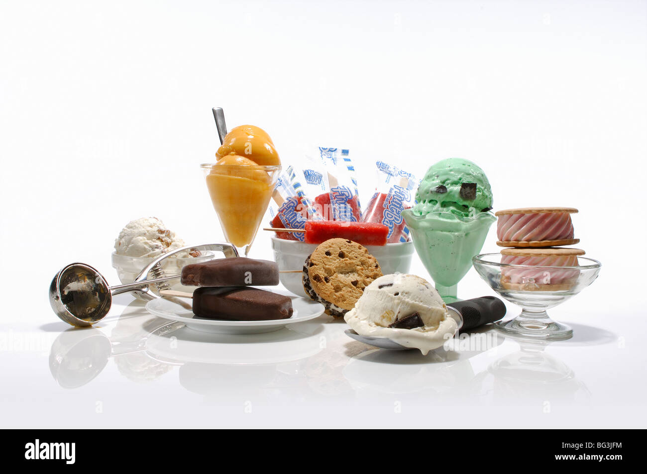 A collection of ice cream products - cones, scoops, cookies, bar and snacks. - Stock Image
