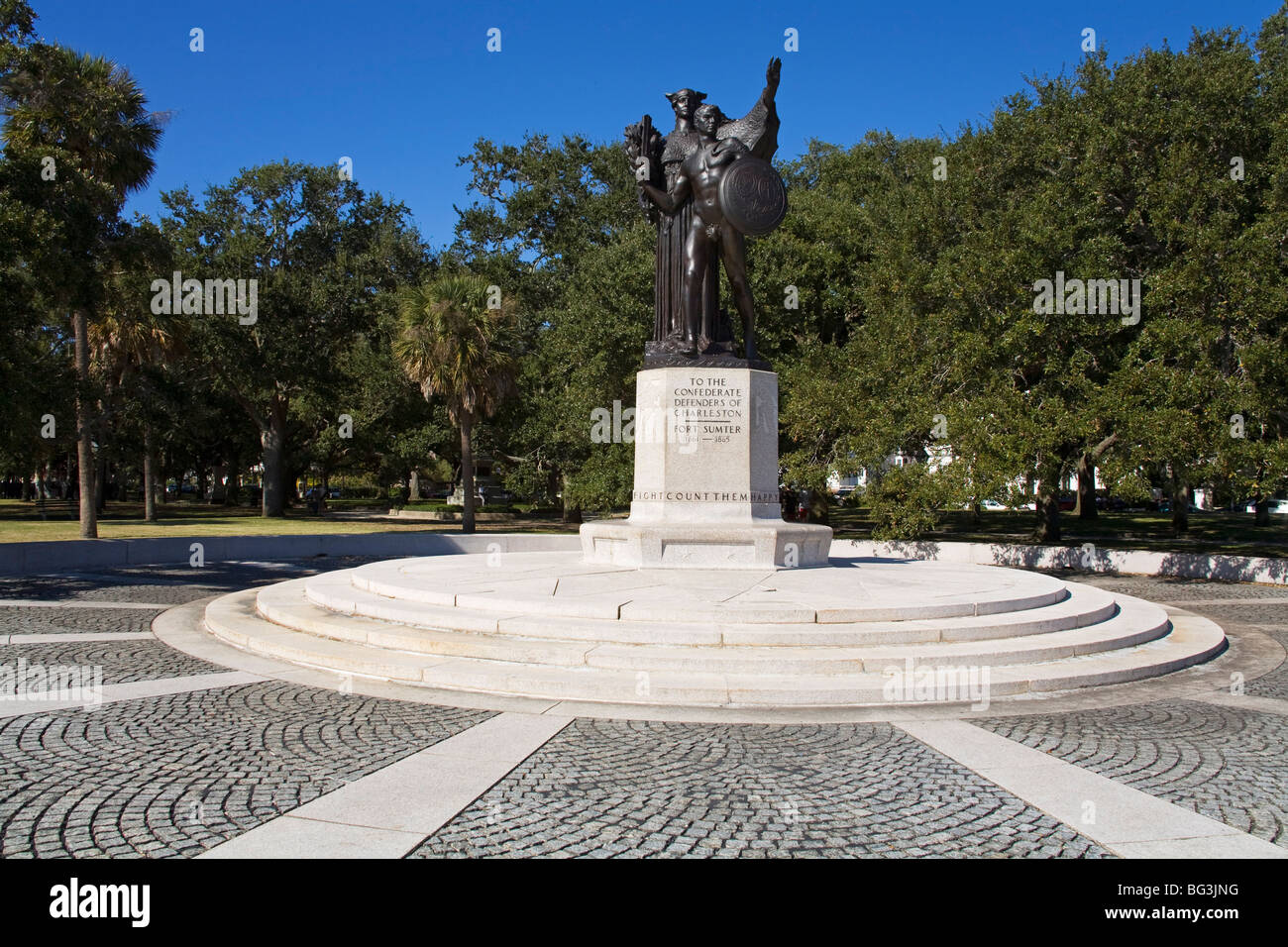 Sumter Monument in The Battery, White Point Gardens, Charleston, South Carolina, United States of America, North - Stock Image