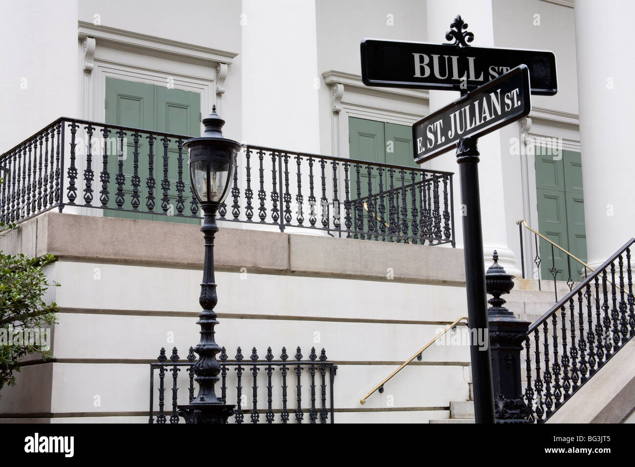 Road signs in Johnson Square, Savannah, Georgia, United States of America, North America - Stock Image