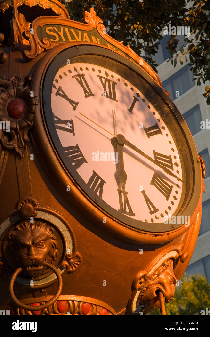 Sylvan Brothers clock on Main Street, Columbia, South Carolina, United States of America, North America - Stock Image