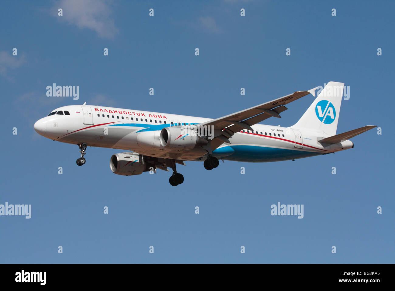 Vladivostok Avia Airbus A320 commercial passenger jet plane - Stock Image