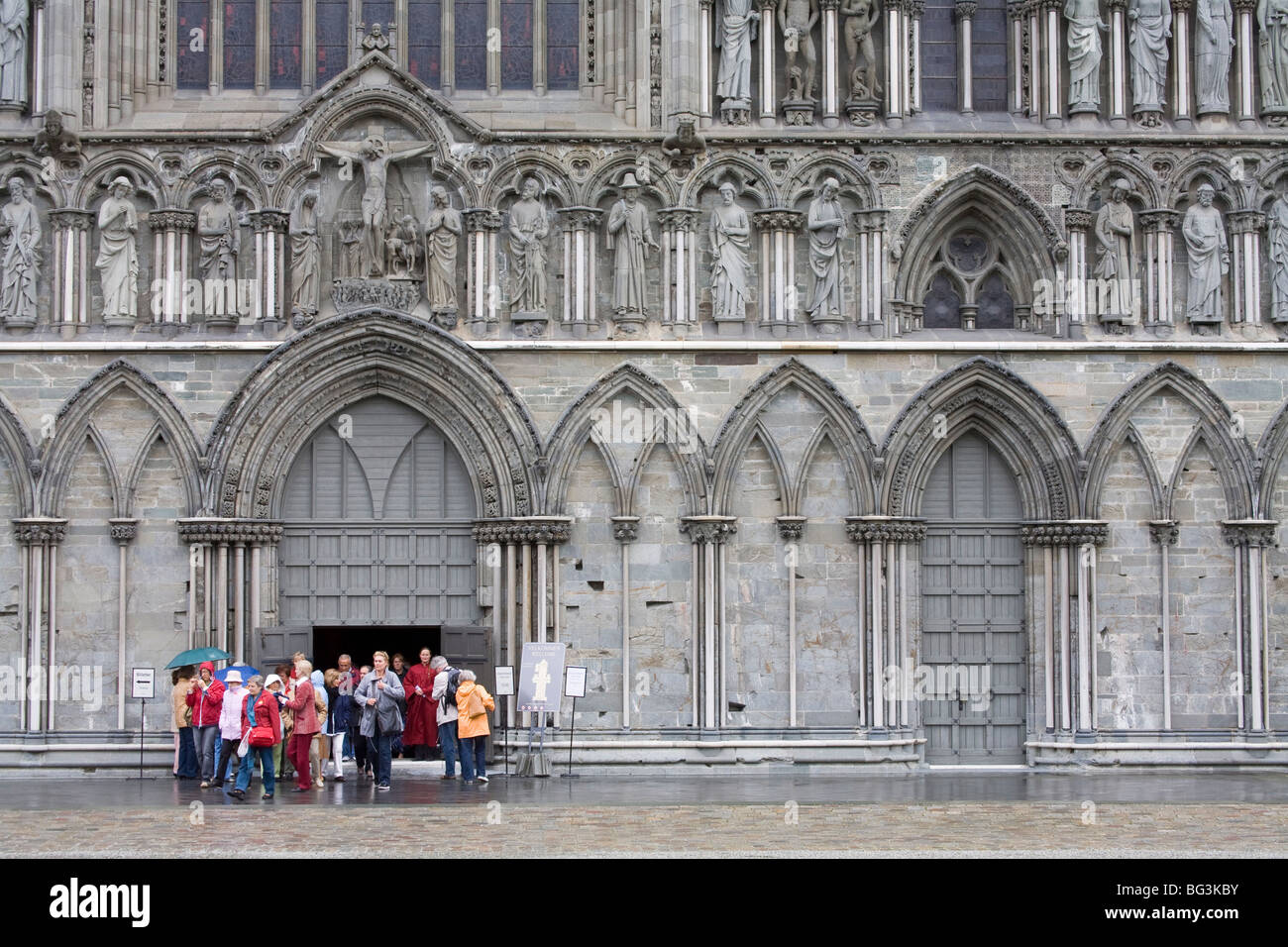 Facade of Nidaros Cathedral, Trondheim City, Nord-Trondelag Region, Norway, Scandinavia, Europe - Stock Image