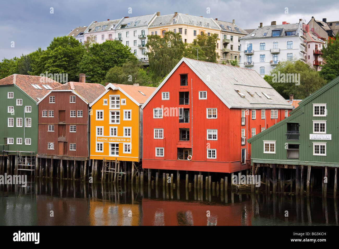 Warehouses on Bryggen waterfront in Old Town District, Trondheim, Nord-Trondelag Region, Norway, Scandinavia, Europe - Stock Image