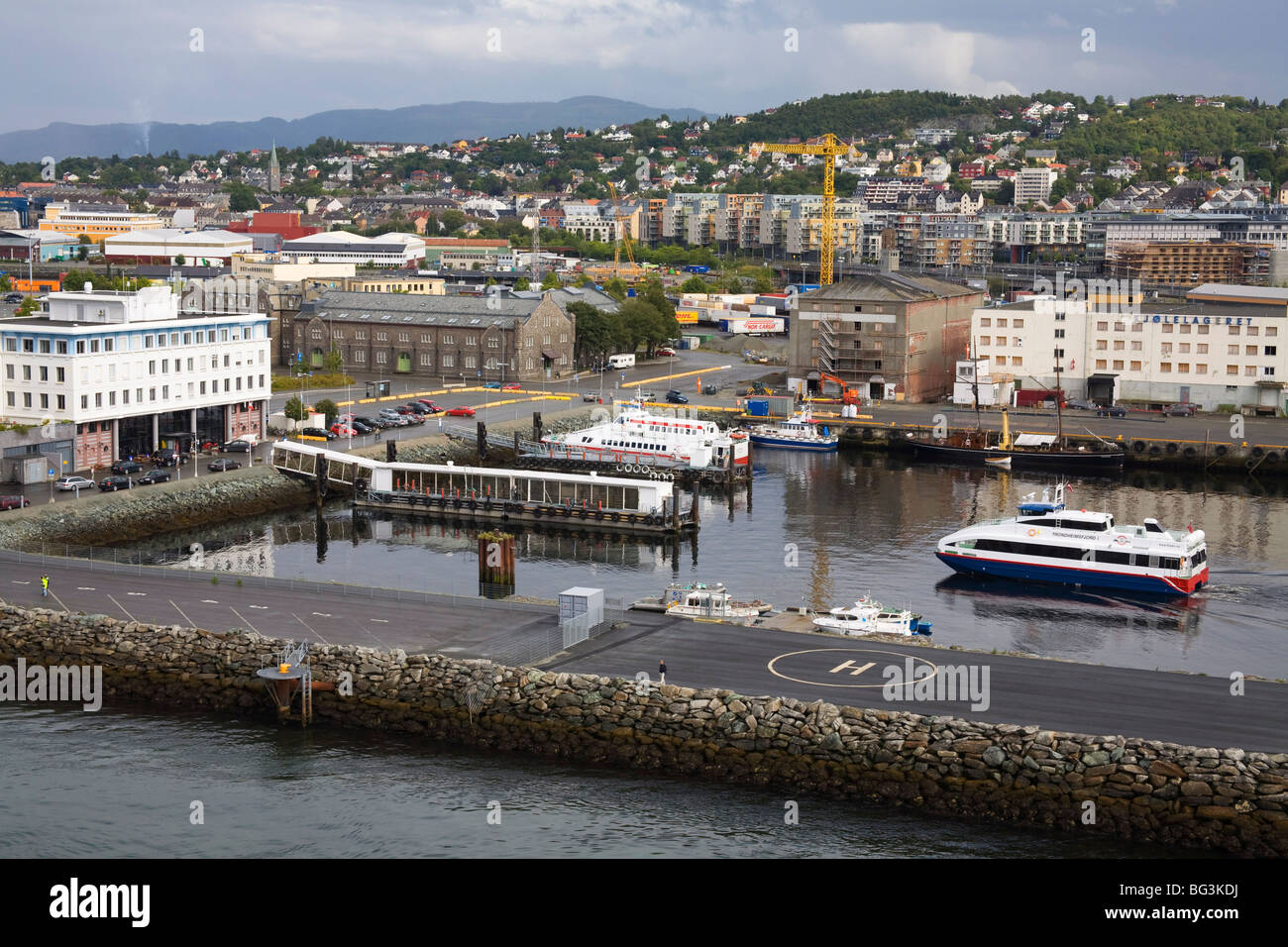 Docks in the Brattora District, Trondheim City, Nord-Trondelag Region, Norway, Scandinavia, Europe - Stock Image