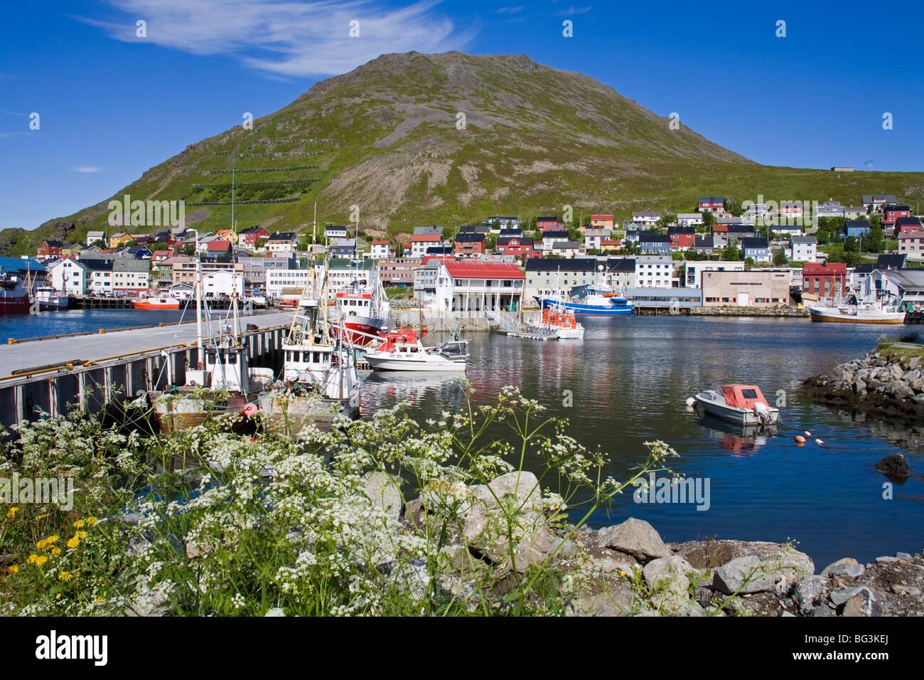 Honningsvag Port, Mageroya Island, Finnmark Region, Arctic Ocean, Norway, Scandinavia, Europe - Stock Image
