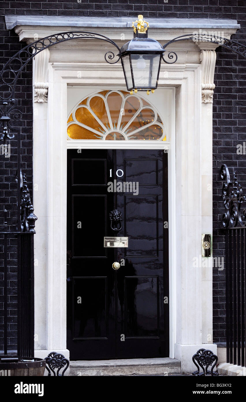 The Front Door Of Number 10 Downing Street London Stock