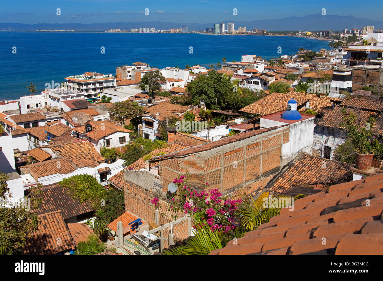 Tiled roofs, Puerto Vallarta, Jalisco State, Mexico, North America - Stock Image