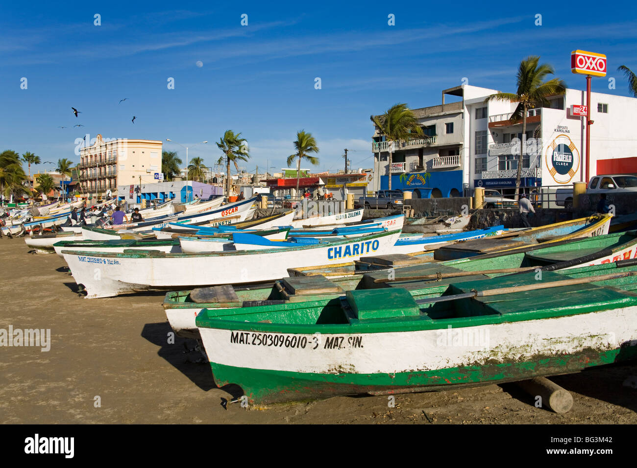 Fishing Boats on Playa Norte, Mazatlan, Sinaloa State, Mexico, North America Stock Photo