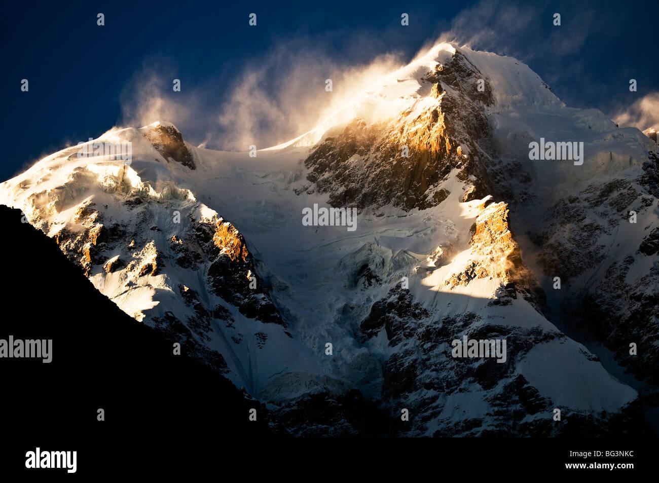 Ultar peak, Karakoram range, Hunza valley, Pakistan. - Stock Image