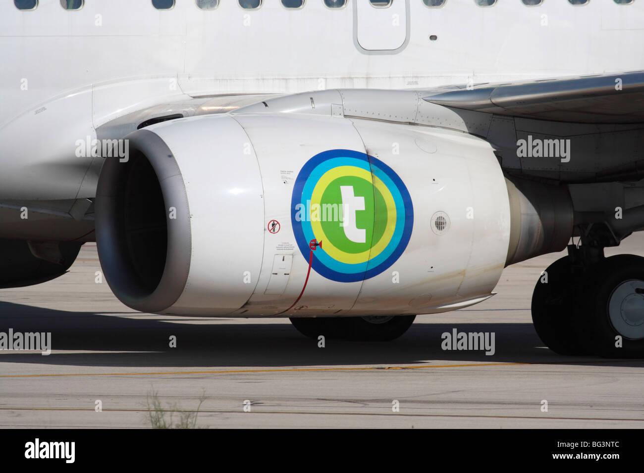 CFM International CFM56 turbofan jet engine nacelle on a Transavia Boeing 737-700 commercial passenger airplane - Stock Image