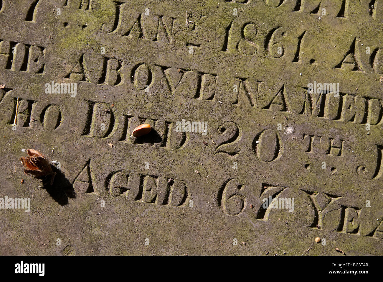 Mortality and life expectancy Victorian Scotland - man died aged 67 - typical healthy life span for mid-1800s ripe - Stock Image