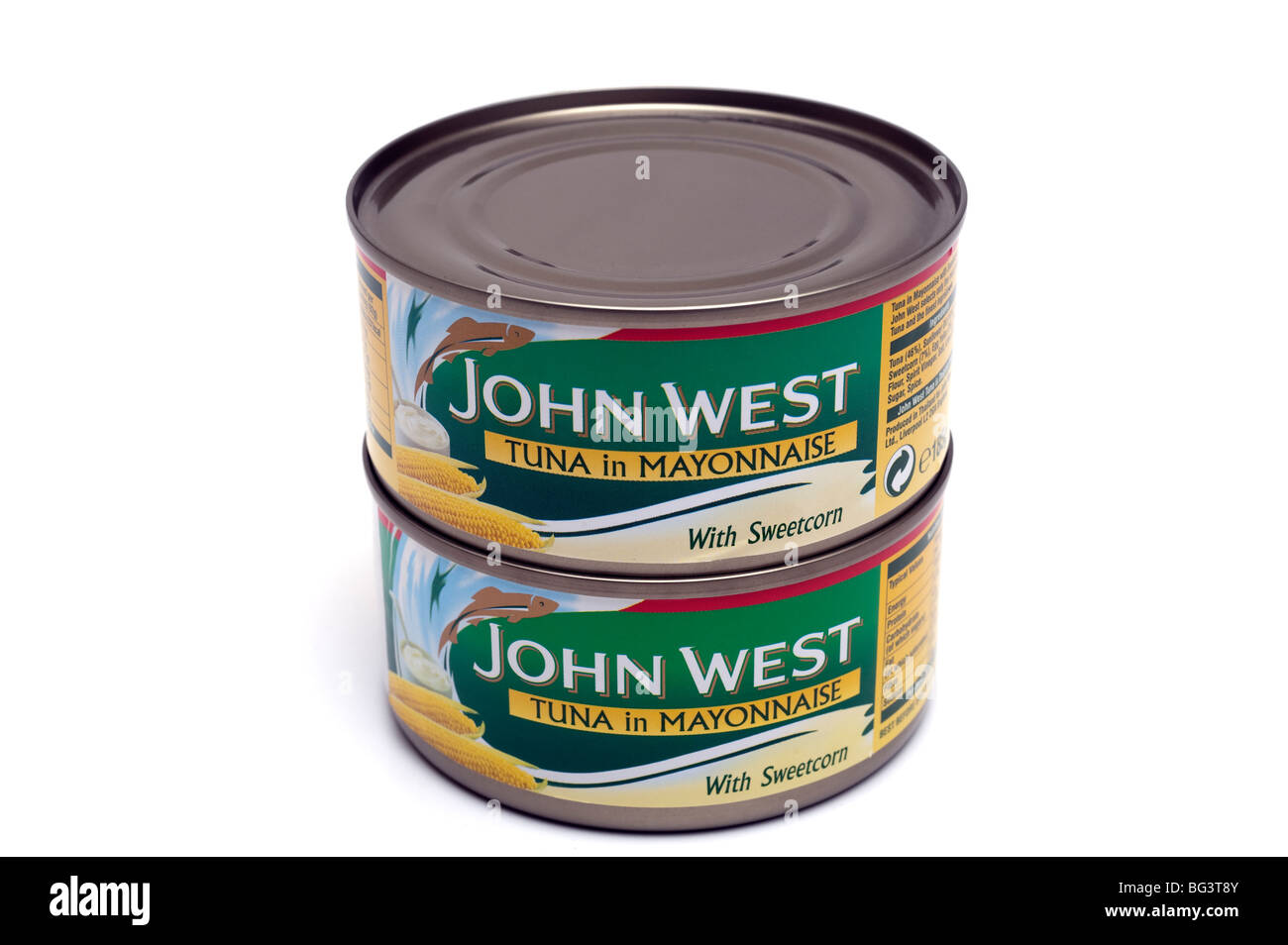 Two tins of John West Tuna in Mayonnaise with sweetcorn - Stock Image