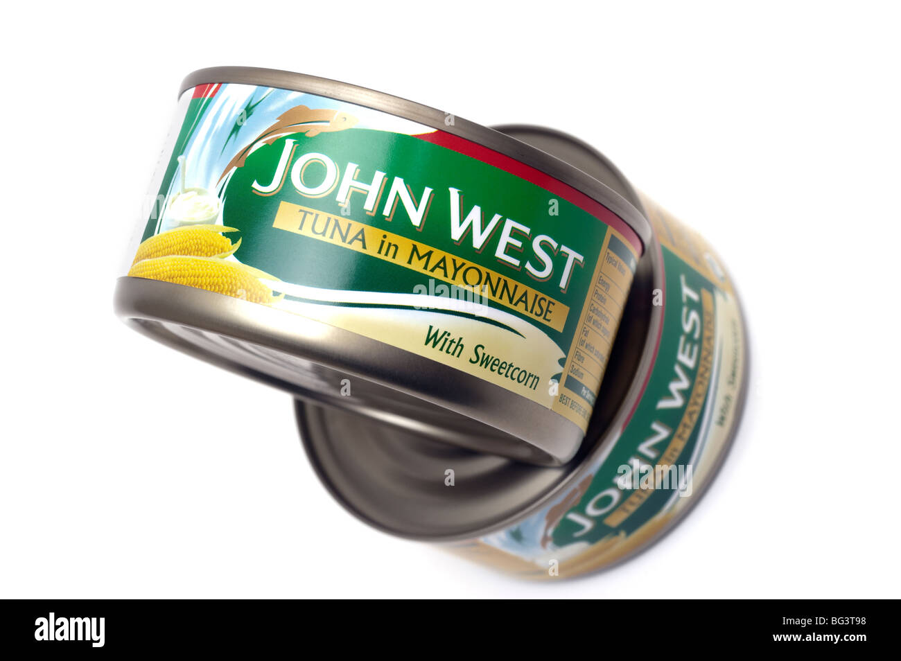 Two tins of 'John West ' Tuna in Mayonnaise with sweetcorn - Stock Image