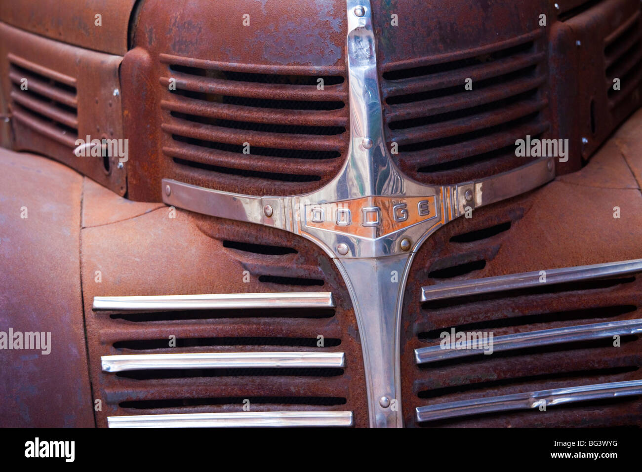 Vintage Dodge Truck at the Gooderham and Worts Distillery District in Toronto Canada - Stock Image
