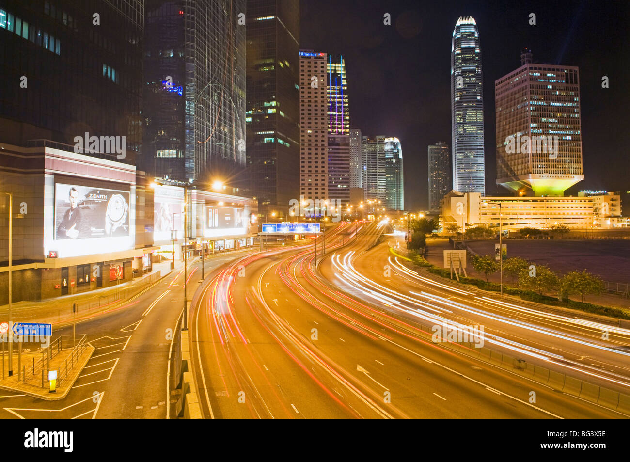 Freeway Running Along Harbor of Hong Kong Stock Photo