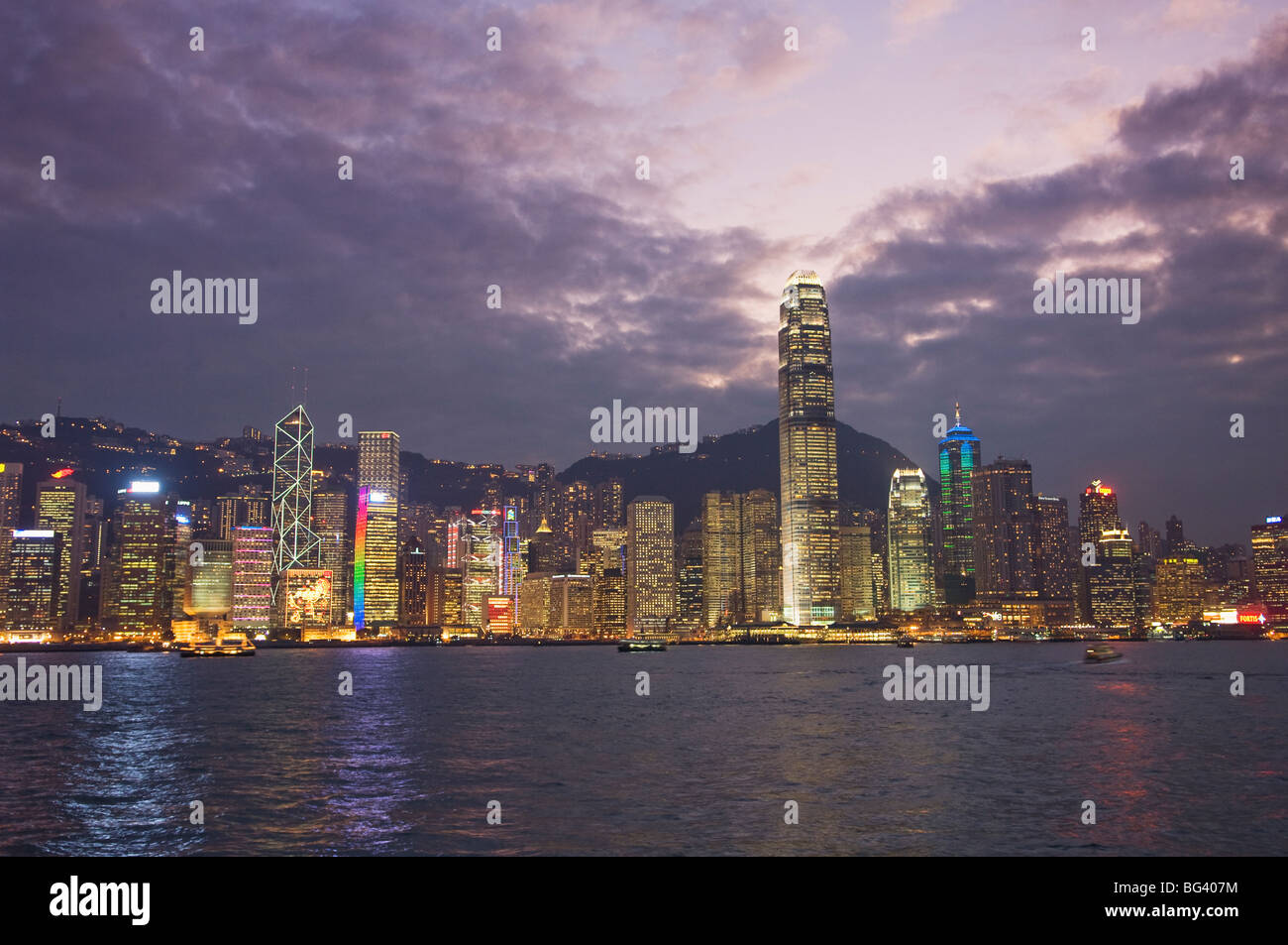 Hong Kong Skyline at night - Stock Image