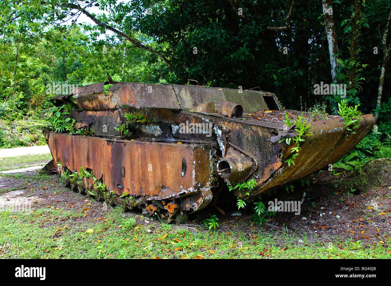 WWI landing craft wreckage, Peleliu, Republic of Palau, Pacific - Stock Image