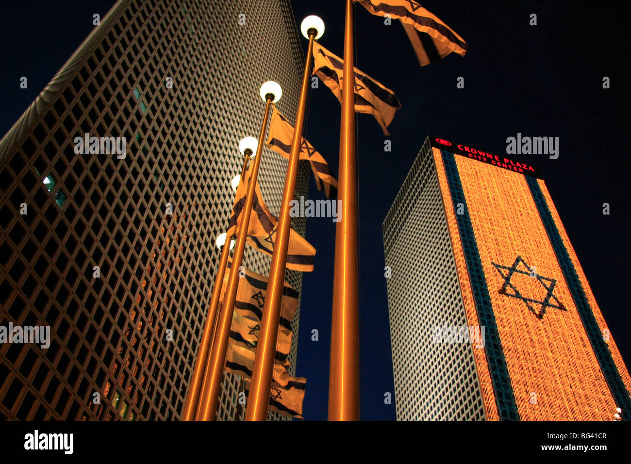Israel, Tel Aviv, an illuminated Israeli flag at Azrieli Center on Independence day - Stock Image