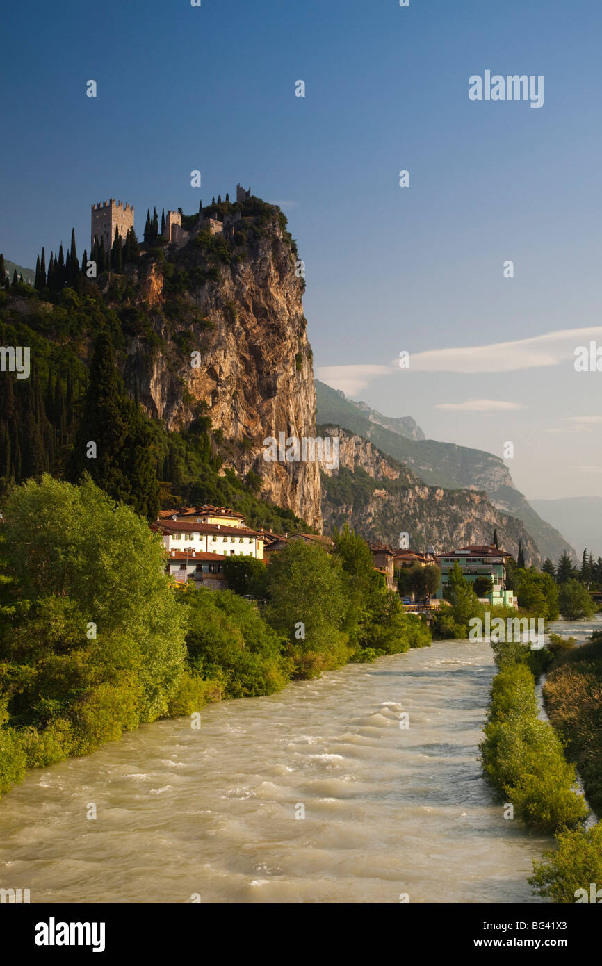 Italy, Trentino-Alto Adige, Lake District, Lake Garda, Arco, mountaintop Castello di Arco castle , view from Sarca - Stock Image