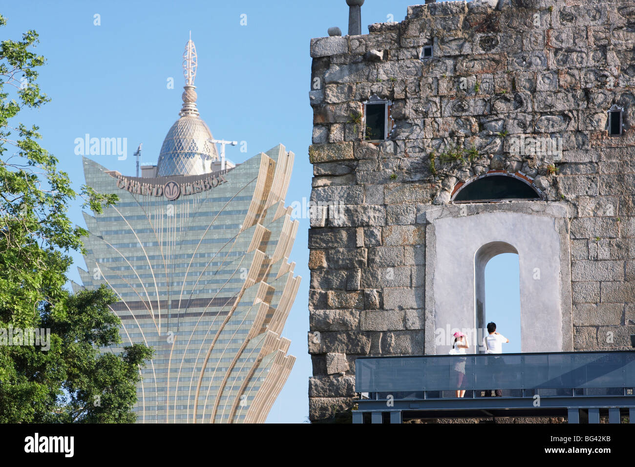 Ruins of Church of St. Paul with Grand Lisboa Casino in background, Macau, China, Asia Stock Photo