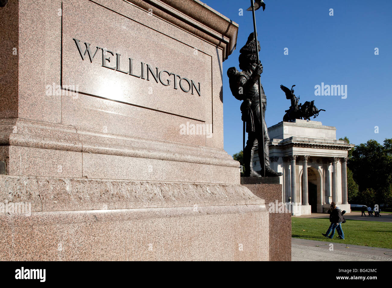 Wellington Arch, Hyde Park Corner, London, England - Stock Image