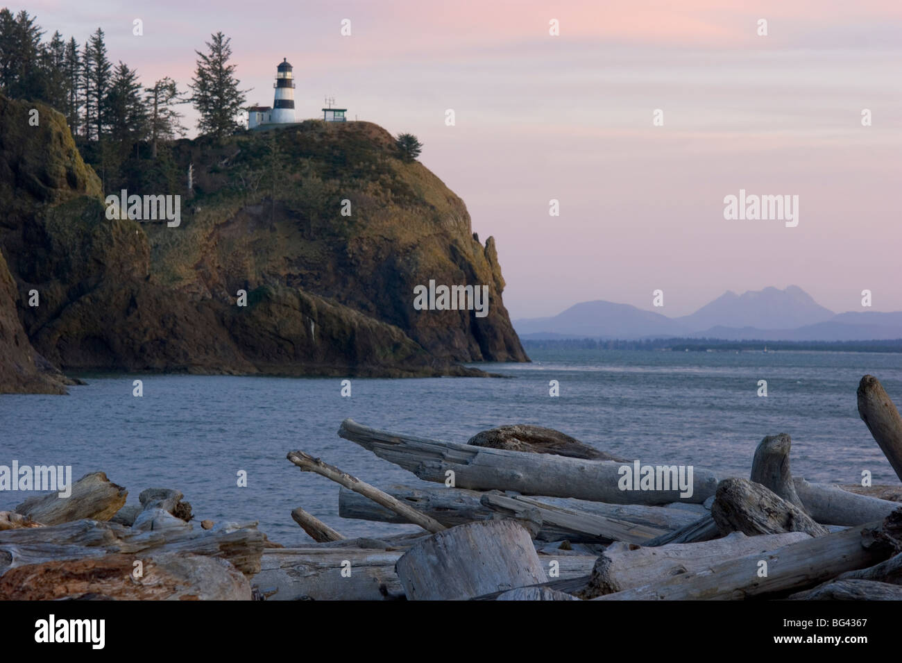 Vertical of Cape Disappointment State Park Lighthouse Coast Guard Station Pacific Ocean West Coast Illwaco - Stock Image