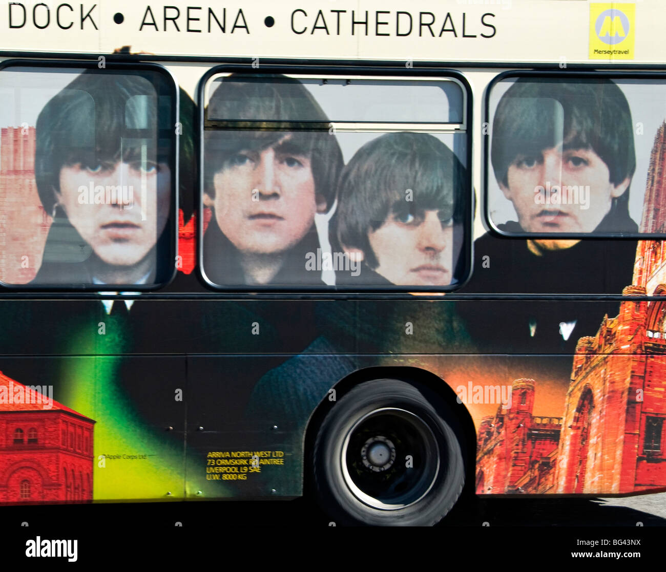 """Beatles"" famous four on a bus in Liverpool, Merseyside, UK - Stock Image"