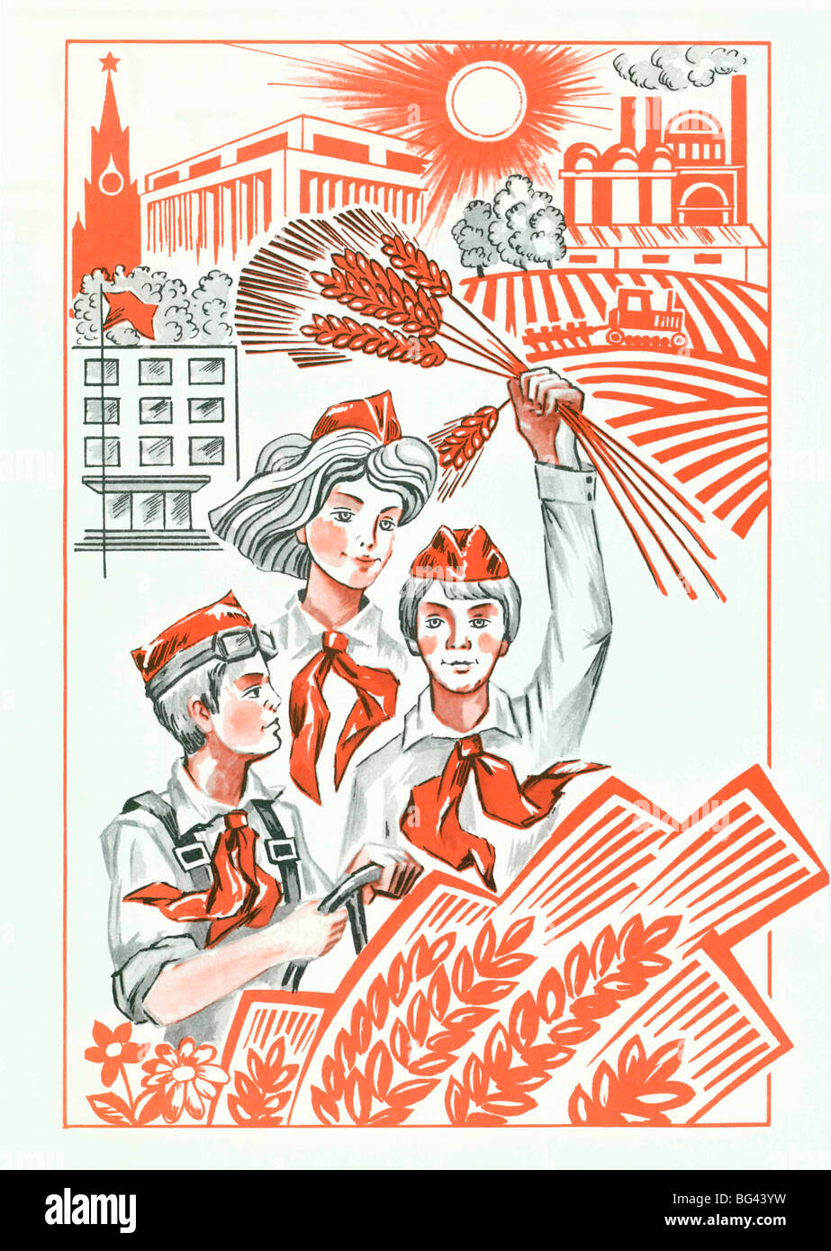 Illustration-slogan for the Pioneer Movement from the times of the Soviet Union, Russia - Stock Image