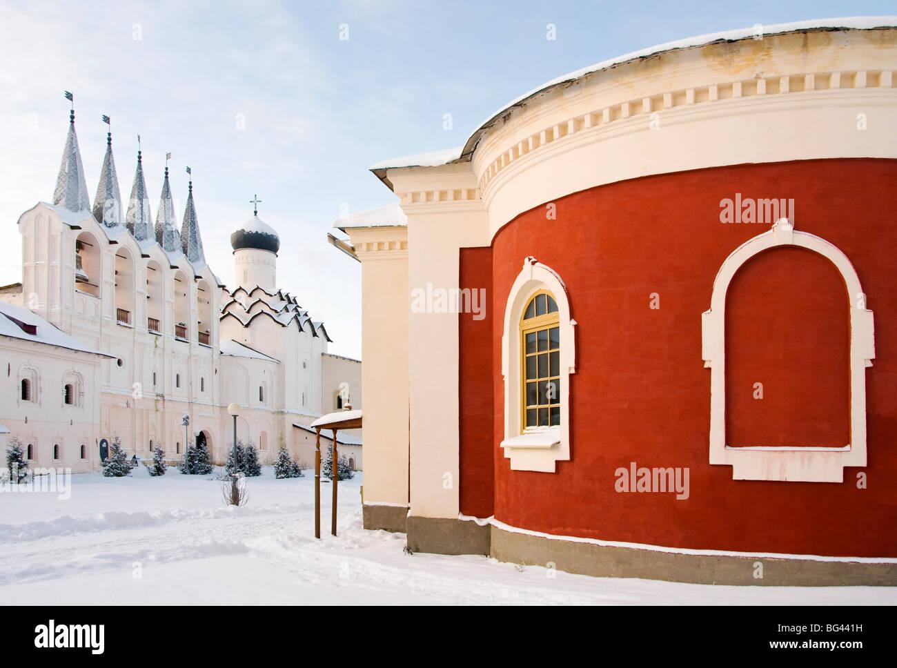 Bogorodichno-Uspenskij Monastery in winter, Tikhvin, Leningrad region, Russia - Stock Image