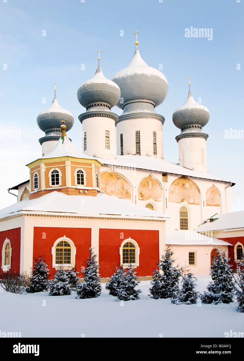 Uspensky Cathedral, Bogorodichno-Uspenskij Monastery, Tikhvin, Leningrad region, Russia - Stock Image