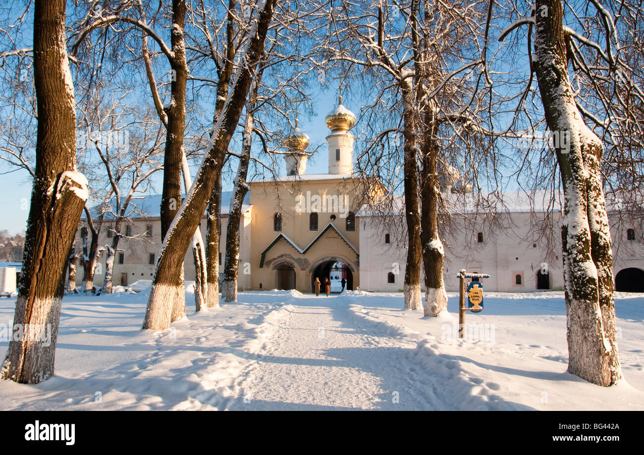 Entrance to the Bogorodichno-Uspenskij Monastery, Tikhvin, Leningrad region, Russia - Stock Image