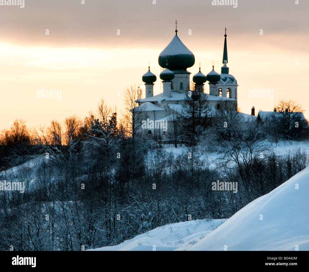 Church of Saint John the Baptist at dusk, Staraya Ladoga, Leningrad region, Russia - Stock Image