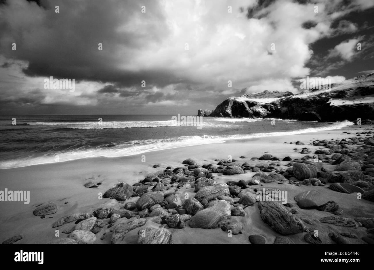 Infrared image of Dalmore beach, Isle of Lewis, Hebrides, Scotland, UK - Stock Image