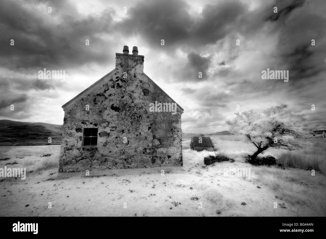 Infrared image of a derelict farmhouse near Arivruach, Isle of Lewis, Hebrides, Scotland, UK - Stock Image
