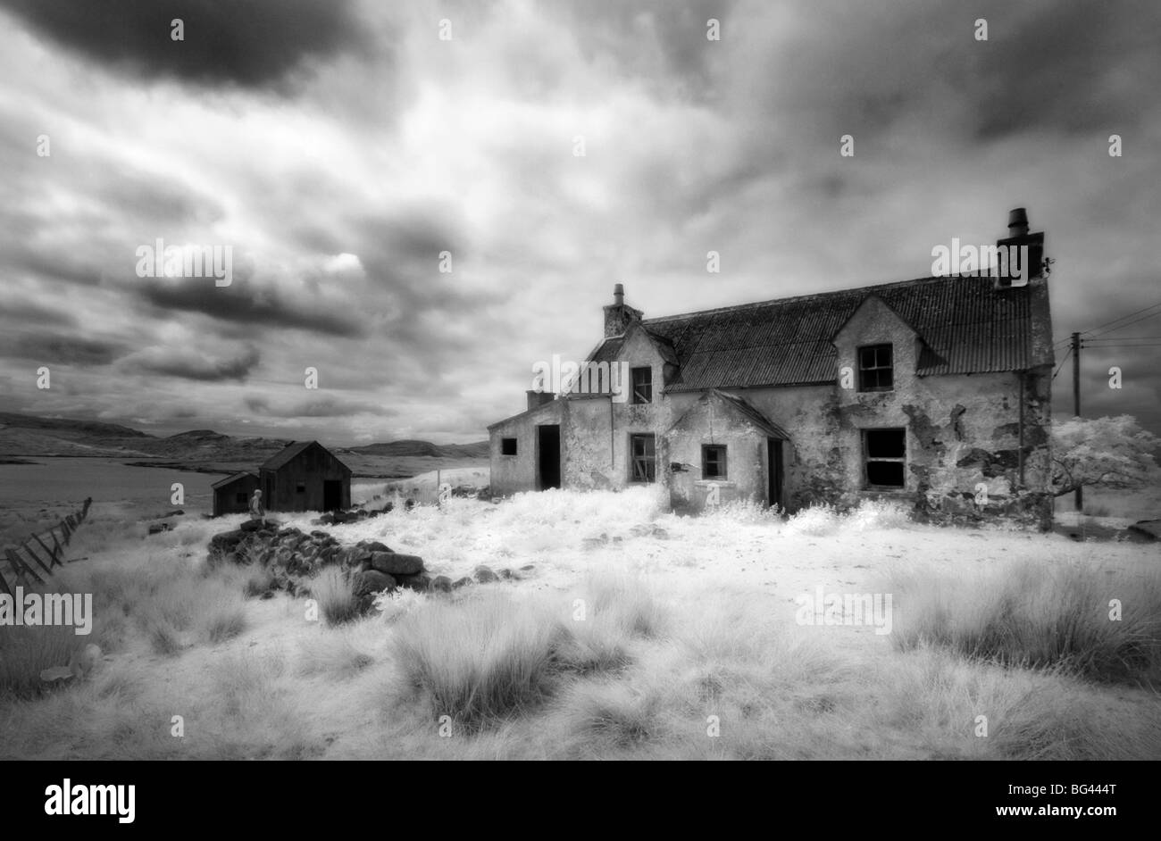 Infrared image of a derelict farmhouse near Arivruach, Isle of Lewis, Hebrides, Scotland, UK - Stock Image