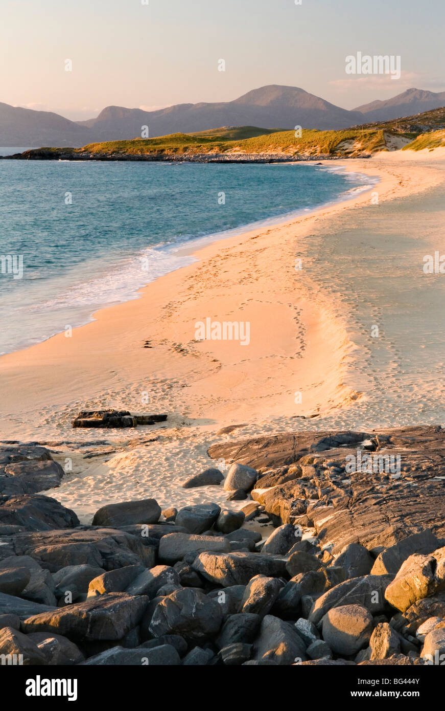 Sunset on Borve beach, Isle of Harris, Hebrides, Scotland, UK - Stock Image