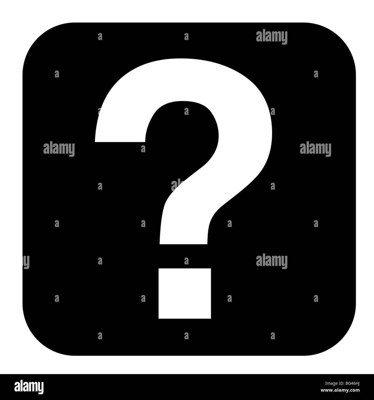 Question mark button isolated on white background. - Stock Image