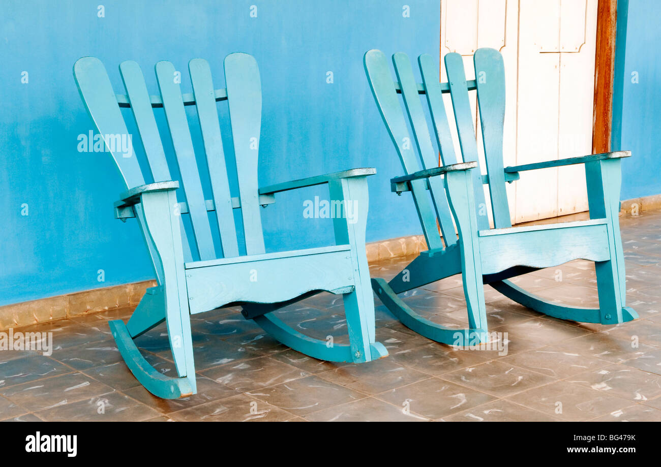 Traditional rocking chairs in Vinales, Cuba, Caribbean - Stock Image