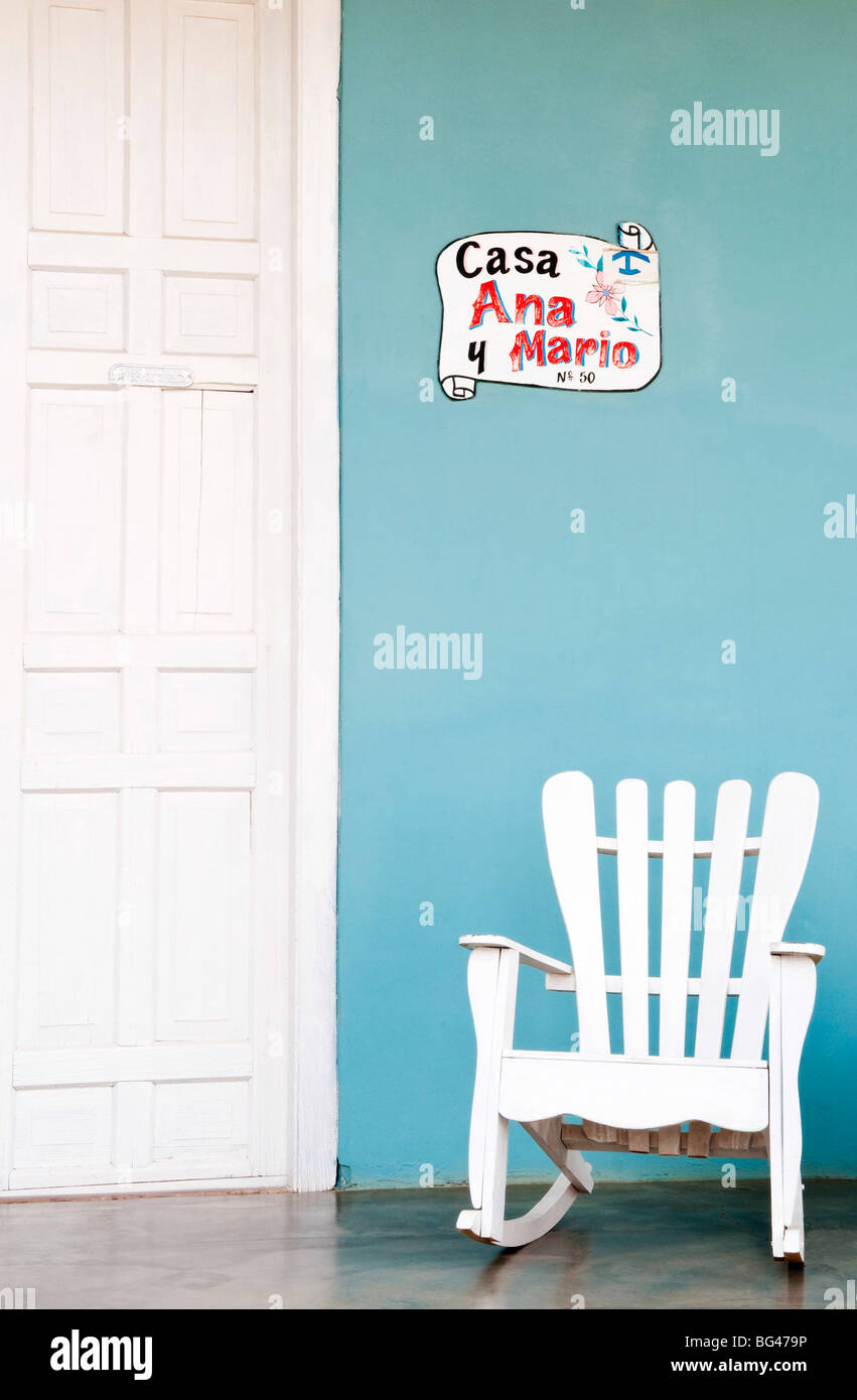 Traditional rocking chair in Vinales, Cuba, Caribbean - Stock Image