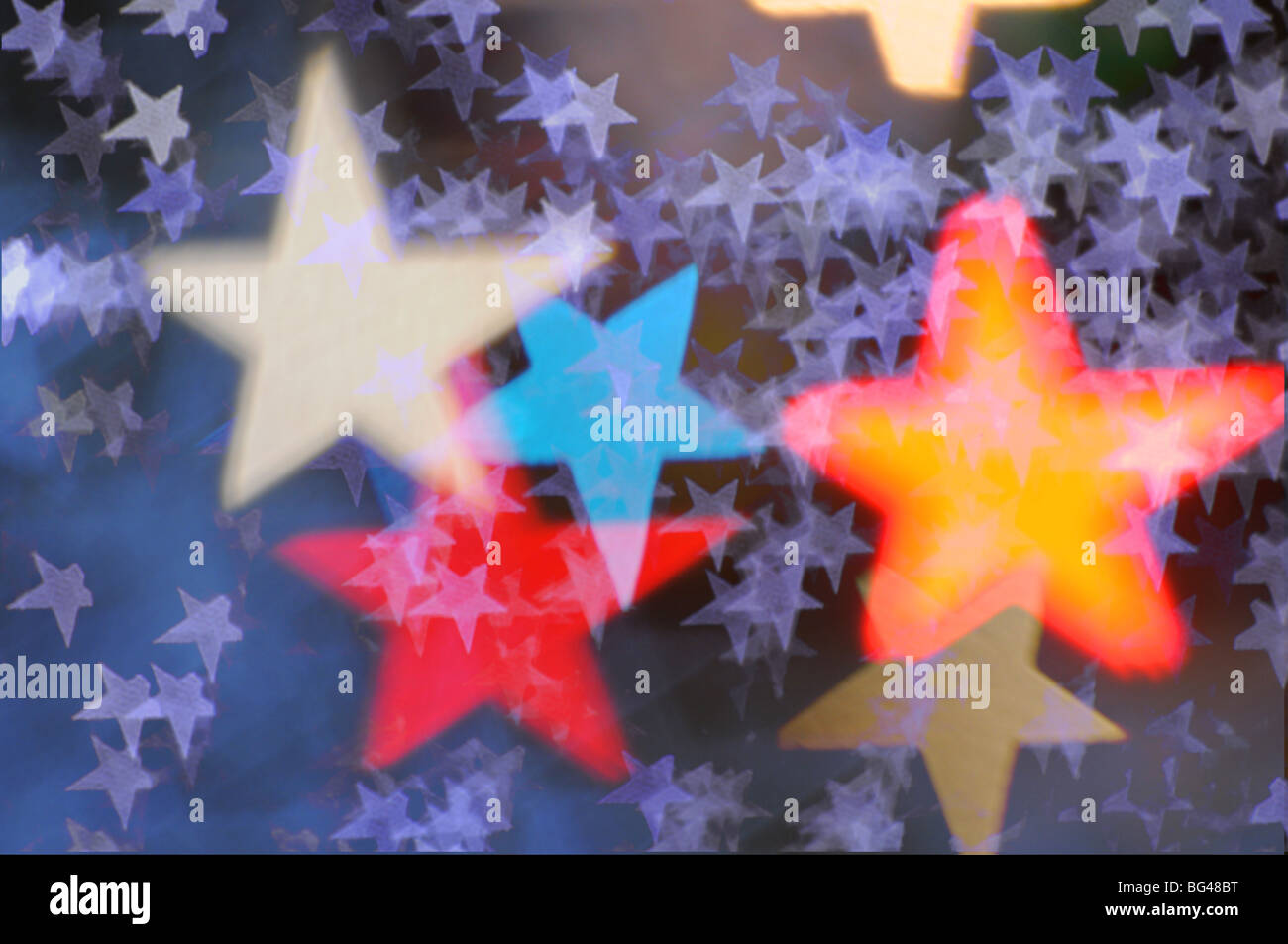 Abstract blurred coloured stars - Stock Image