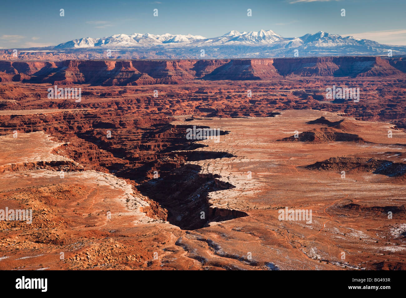 USA, Utah, Moab, Canyonlands National Park, Buck Canyon Overlook, winter - Stock Image