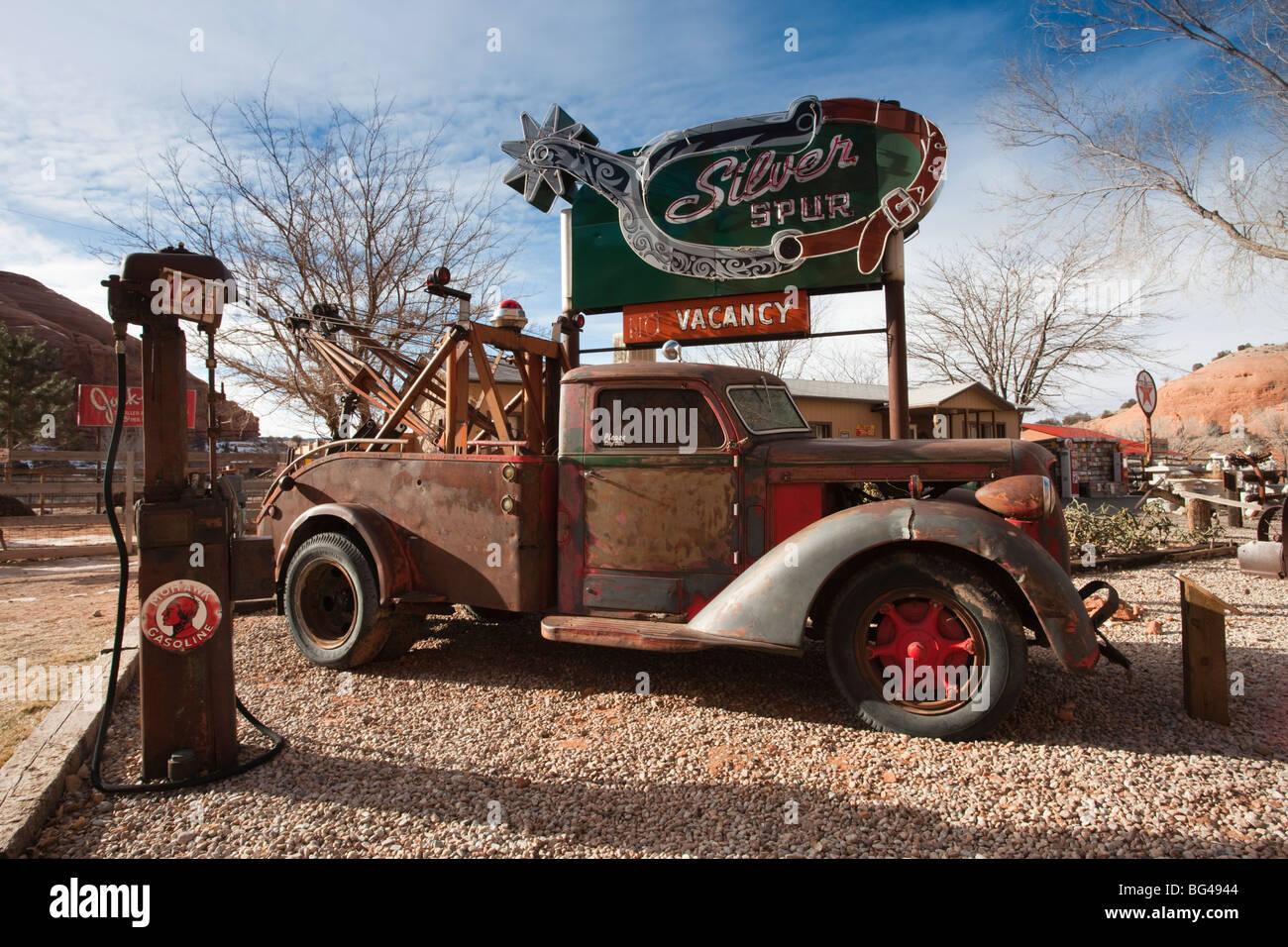 USA, Utah, Moab, Hole in the Rock tourist shop, yard detail, winter Stock Photo