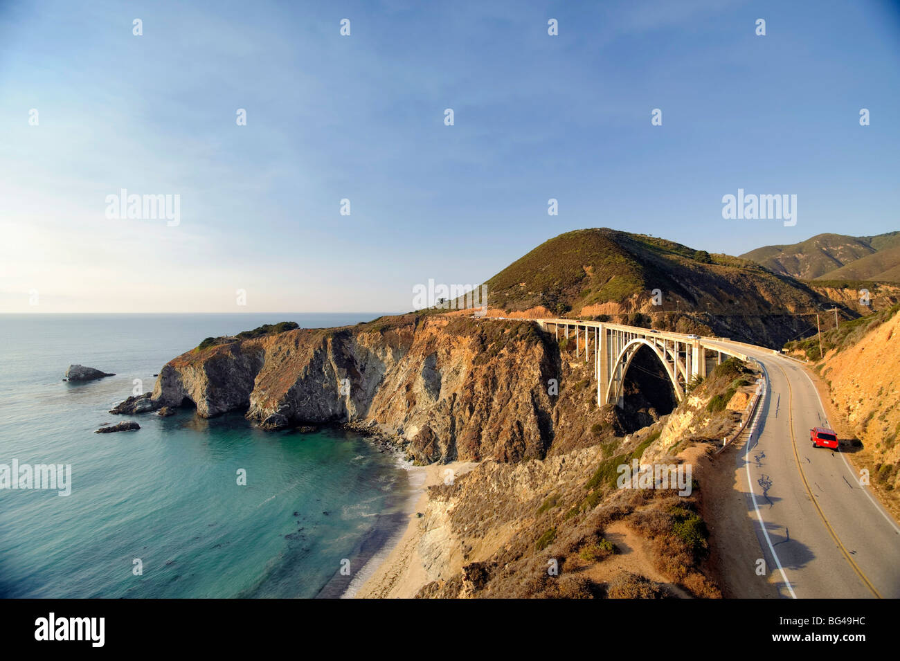 USA, California, Big Sur Pacific Coastline, Bixby Bridge and Highway 1 - Stock Image