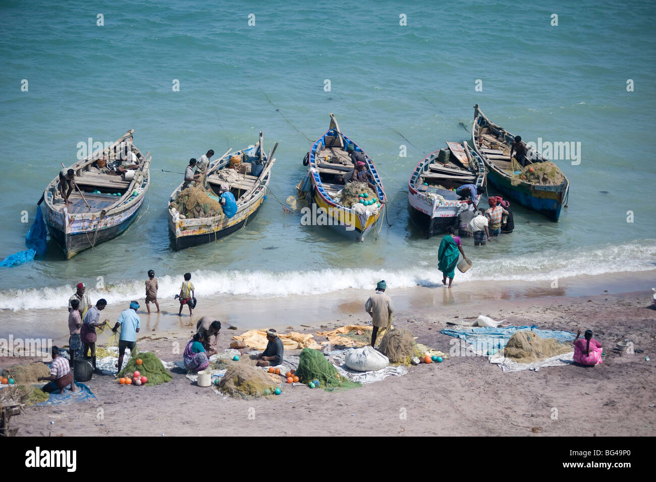 Everybody joins in as the morning's catch of fish is unloaded, Dhanushkodi, Tamil Nadu, India, Asia - Stock Image