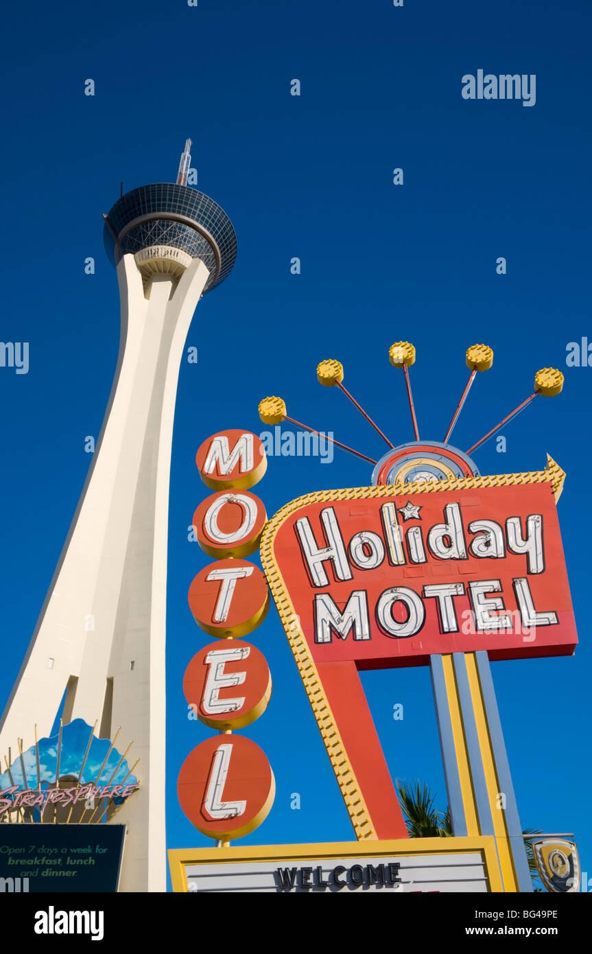 USA, Nevada, Las Vegas, Stratosphere and Holiday Motel - Stock Image