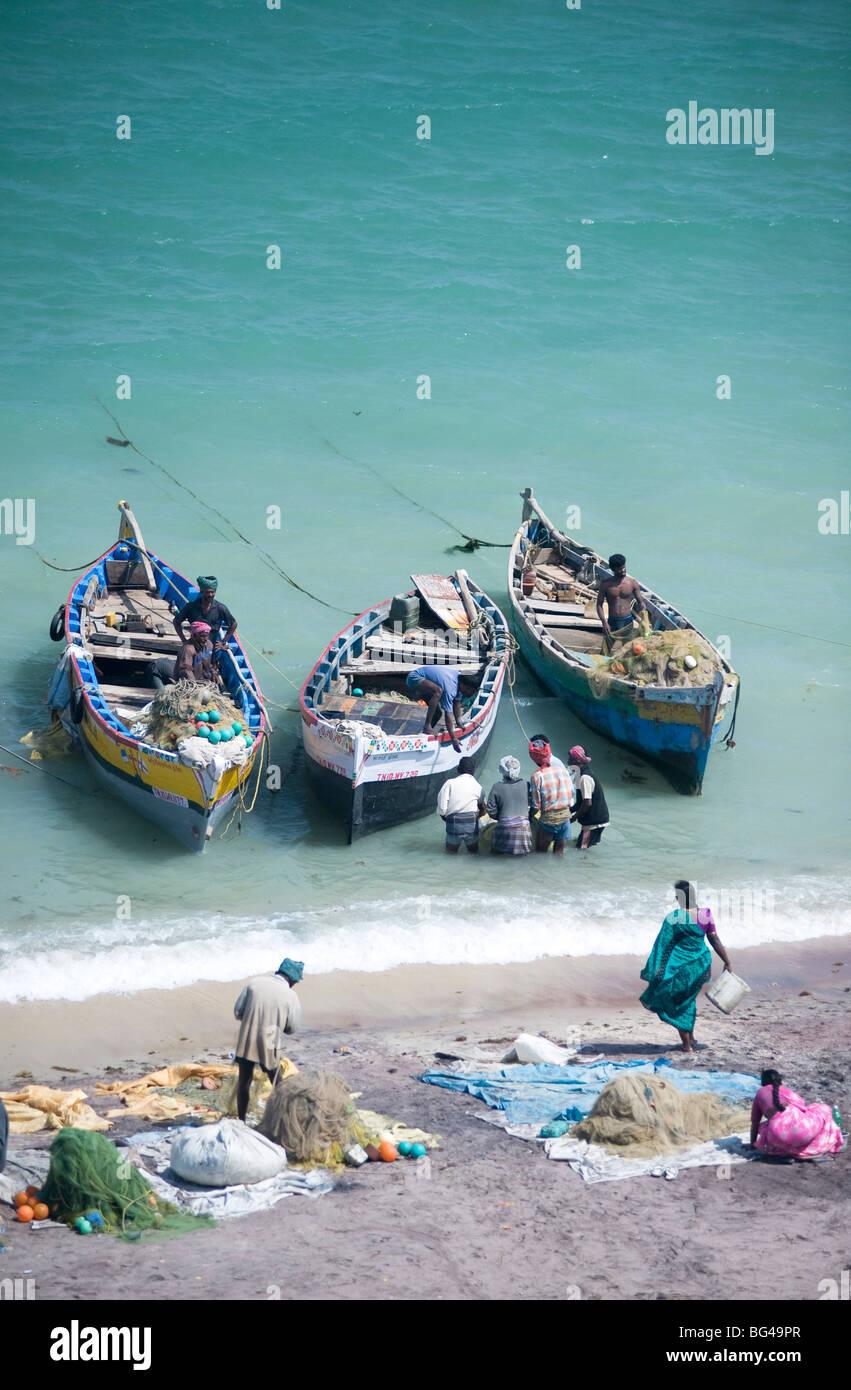 Unloading the morning's catch of fish, Dhanushkodi, Tamil Nadu, India, Asia - Stock Image