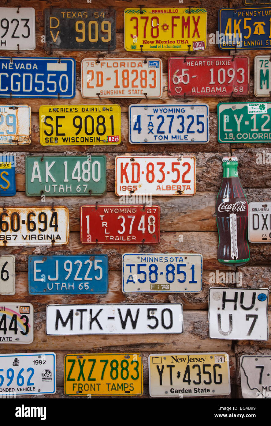 USA, Utah, Moab, Hole in the Rock tourist shop, old license plates ...