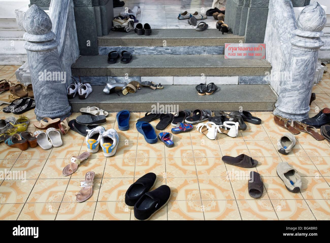f9028f6817ea Shoes outside buddhist temple. Wat Saket. Bangkok. Thailand Stock ...