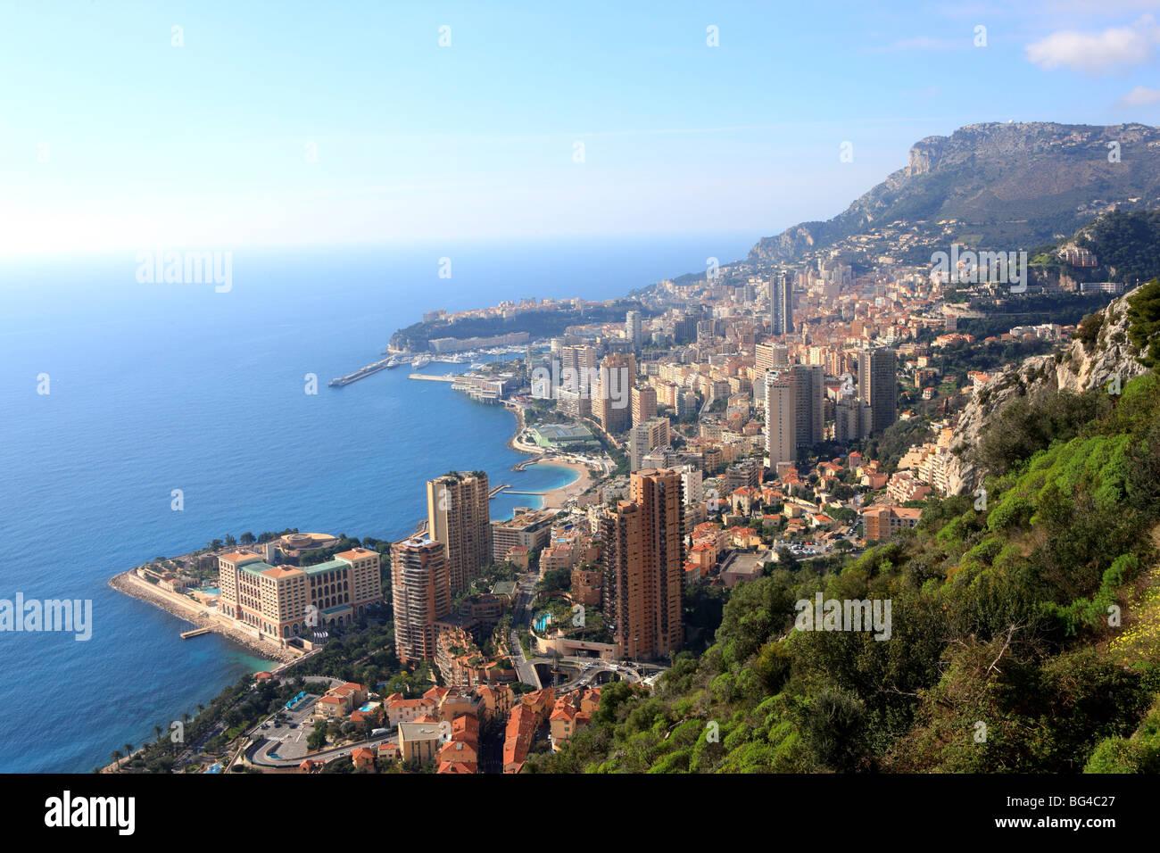 Elevated view over the city, Monte Carlo, Monaco, Cote d'Azur, Mediterranean, Europe - Stock Image