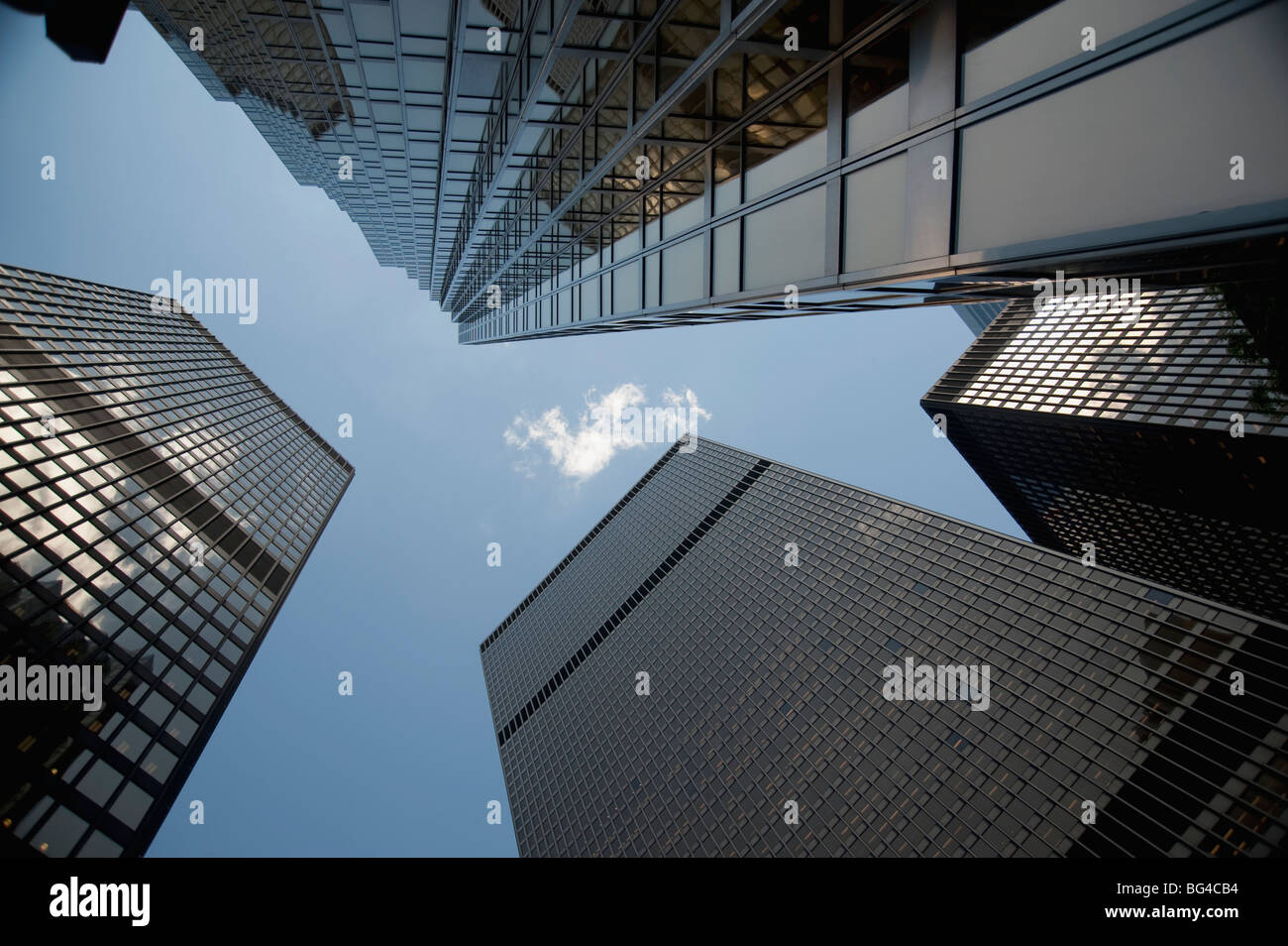 Toronto, Ontario, Canada; View looking up to the top of highrise buildings - Stock Image